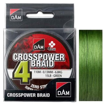 Плетеный шнур DAM Crosspower 4-Braid - 0.10 мм, 150 м (Green)